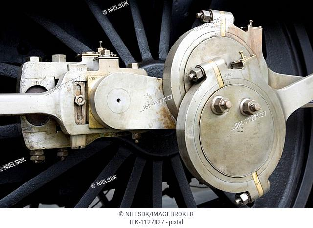 Mechanical detail of an old steam locomotive
