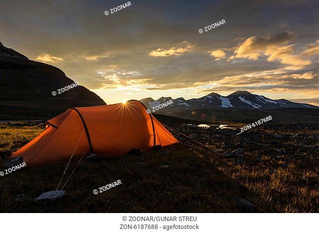 tent with Mt. Akka, Lapland, Sweden