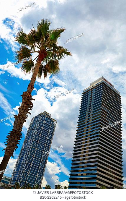 Mapfre tower and Hotel Arts. Port Olimpic. Barcelona. Catalonia. Spain
