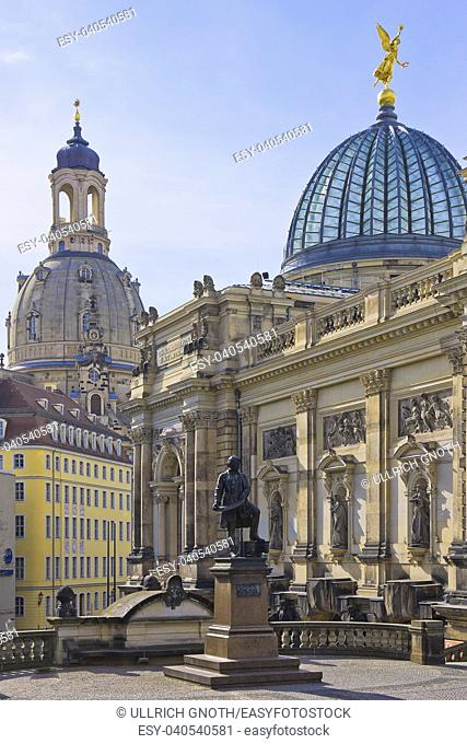 The Frauenkirche Church and Academy of Fine Arts, Dresden, Saxony, Germany