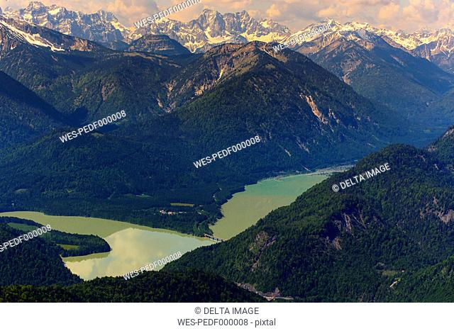 Germany, Bavaria, Aerial view of Sylvenstein storage lake and Alps