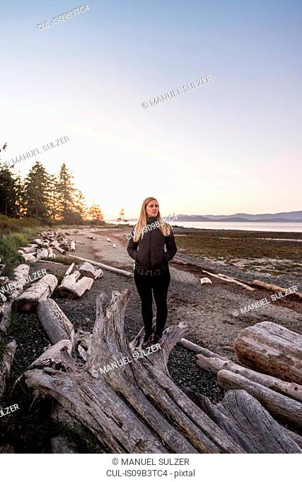 Woman gazing from driftwood log at Rathrevor Beach Provincial Park, Vancouver Island, British Columbia, Canada