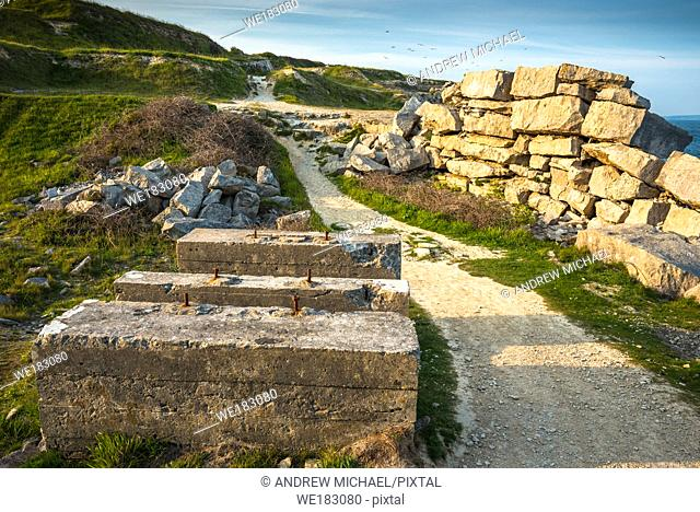 Remains of an ancient disused quarry at Portland Bill on the Isle of Portland, Dorset. England. UK