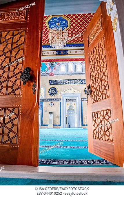 Decorated door of Center Isabey Mosque in Bursa,Turkey. 20 May 2018