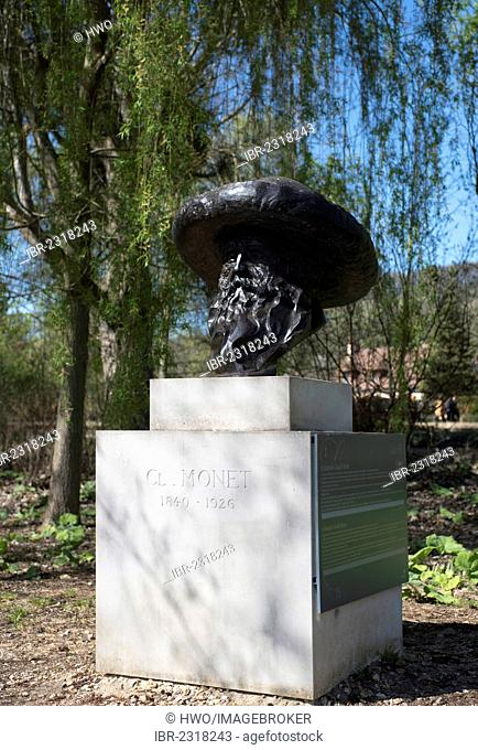 Bronze bust of Claude Monet at his residence, Giverny, Upper Normandy, France, Europe