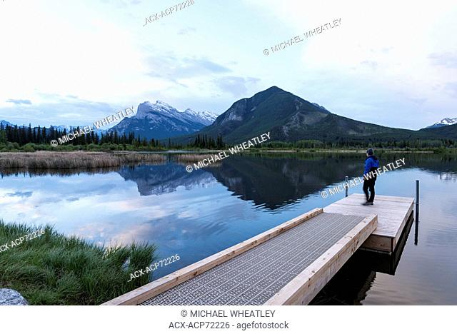 Man at Vermilion Lakes, Banff National Park, Alberta, Canada