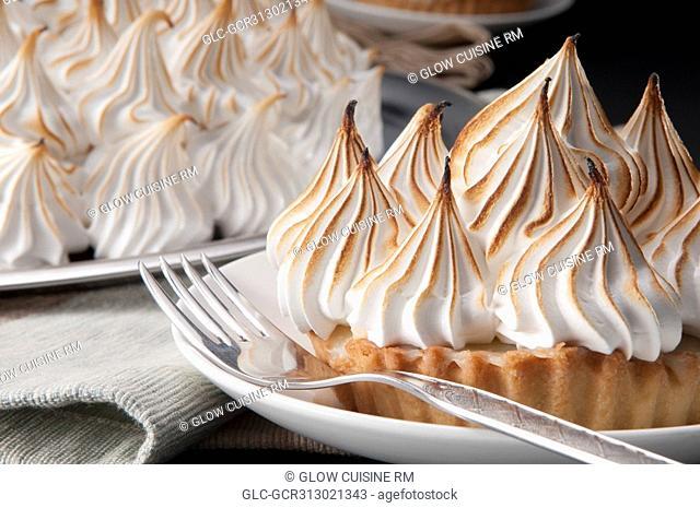 Close-up of meringue pies