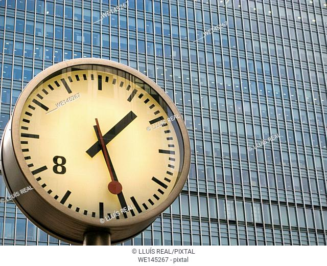 Clock, Canary Warf, Docklands, London, England