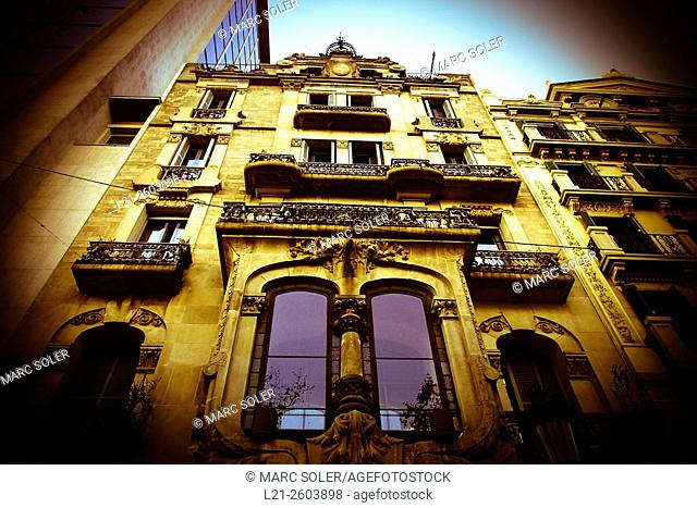 Casa Bonaventura Ferrer. Building located at number 113 of Passeig de Gracia. Designed by architect Pere Falqués i Urpí following a Modernisme or Art Nouveau...