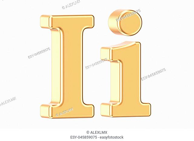 English golden letter I, 3D rendering isolated on white background