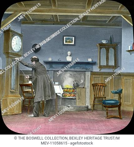 Dan opens the clock - room fire in grate , man opening front of clock. Part of Box 52 Boswell collection. Nursery Rhymes
