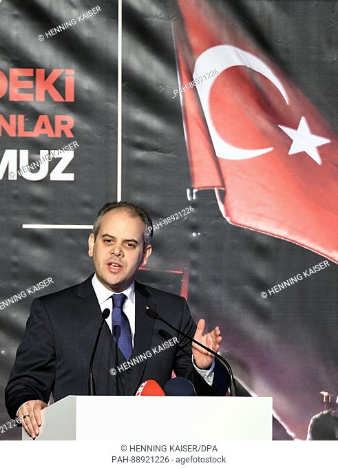 The Turkish sports minister Akif Cagatay Kilic speaking at a private event entitled 'Helden unter uns. 15. Juli' on 10 March 2017 in Cologne, Germany