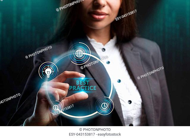 The concept of business, technology, the Internet and the network. A young entrepreneur working on a virtual screen of the future and sees the inscription: Best...