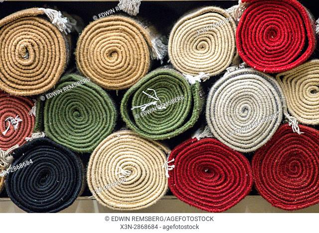 Jaipur, India - Tradition oriental rugs stacked