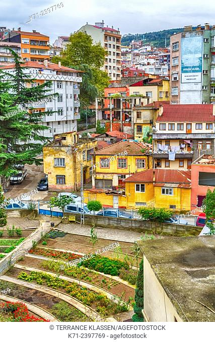 A residential district in the Black Sea port of Trabzon, Turkey