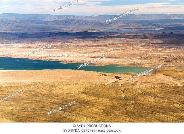 aerial view of grand canyon and lake mead