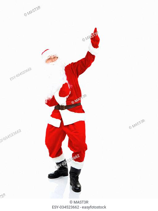 Santa Claus point finger glove up at blank empty copy space for Text isolated over white background