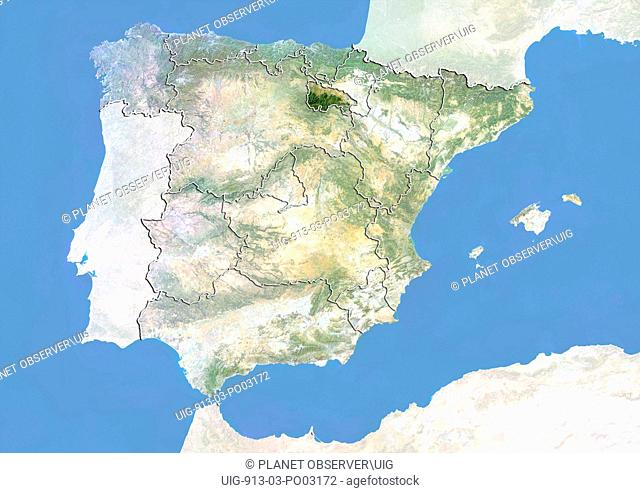 Satellite Map Of Spain.Satellite View Of Spain Showing Stock Photos And Images Age Fotostock