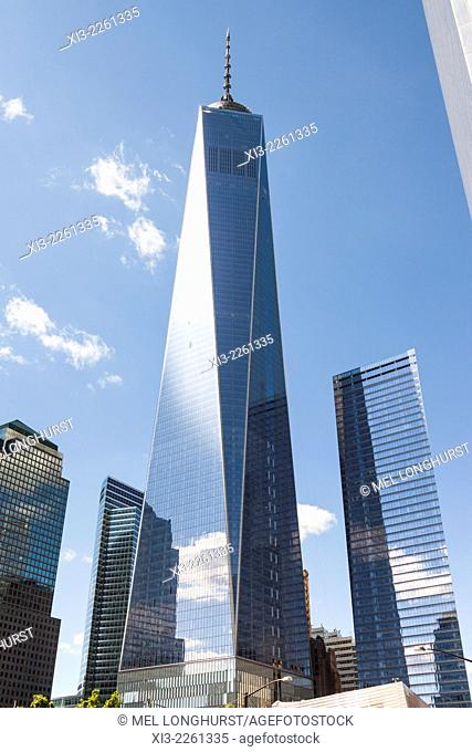 One World Trade Center also known as Tower 1 and Freedom Tower, Tower 7 on right, Manhattan, New York City, New York, USA