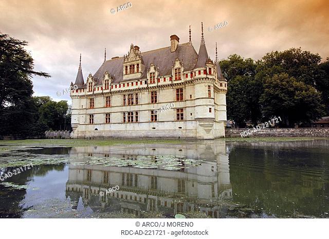 Chateau d'Azay-le-Rideau, Azay-le-Rideau, Loire Valley, Indre-et-Loire, Centre, France, Renaissance style