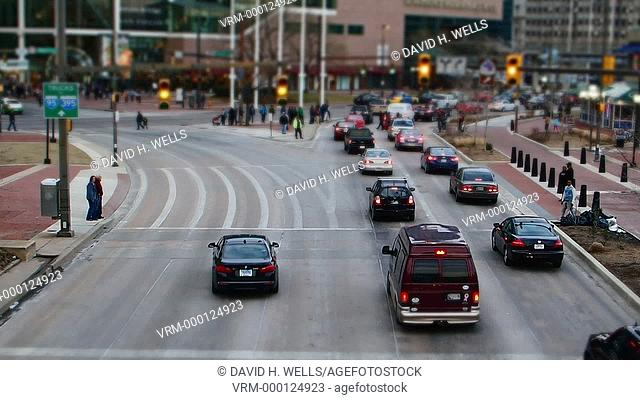 Vehicular and pedestrian traffic in the Inner Harbor area of Baltimore, Maryland