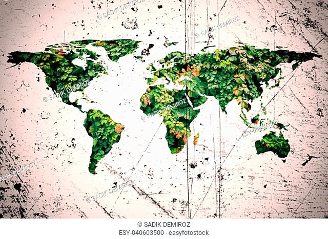 conceptual image of flat world map and leaves. NASA flat world map image used to furnish this image