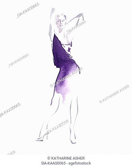 Portrait of woman in purple dress