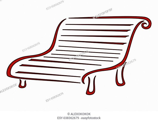 Park bench for rest on walk. Symbolical monochrome image