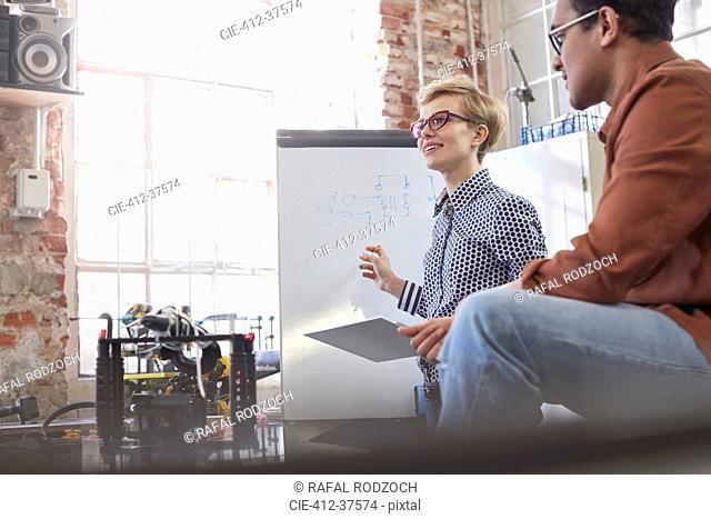 Smiling female designer with clipboard brainstorming at flipchart