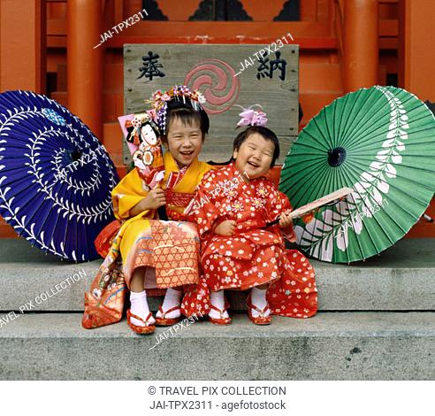 Festival for Seven, Five, Three Year Old Children (Shichi-go-san) / Girls Dressed in Kimon, Tokyo, Honshu, Japan
