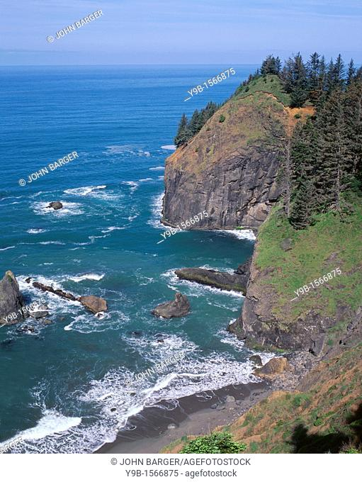 Steep cliffs on headland plunge into Pacific Ocean, Samuel Boardman State Park, southern coast, Oregon, USA