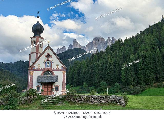 The Church of St. Johann in Ranui, Val di Funes, Dolomites, South Tirol, Italy