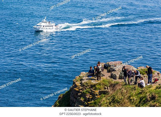 EXCEPTIONAL SITE, CAPE FREHEL AND ITS PINK SANDSTONE AND SCHIST CLIFFS AT 70M HIGH DOMINATE THE SEA, PLEVENON, (22) COTES-D'ARMOR, BRITTANY FRANCE