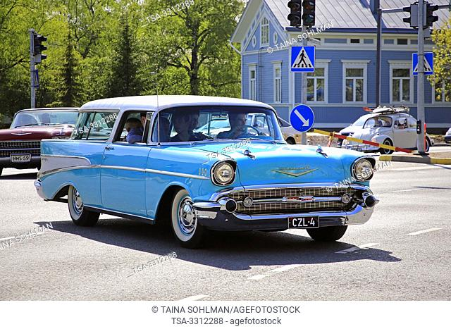 Salo, Finland. May 18, 2019. Turquoise Classic Chevrolet among ca 450 vintage cars gathering to Salo market square for Salon Maisema Cruising 2019