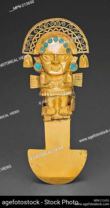 Ceremonial Knife (Tumi) - A.D. 1100/1470 - Chimú North coast, Peru - Artist: Chimú, Origin: North Coast, Date: 1100–1470, Medium: Gold with turquoise inlay