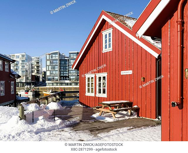 Rorbu, traditional fishermen huts, now used as hotels, in the town of Svolvaer , island Austvagoya. The Lofoten islands in northern Norway during winter