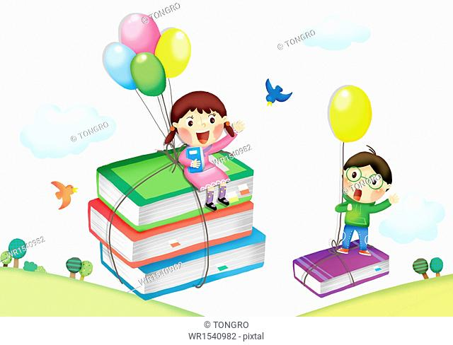 two kids sitting on books that are flying in the air