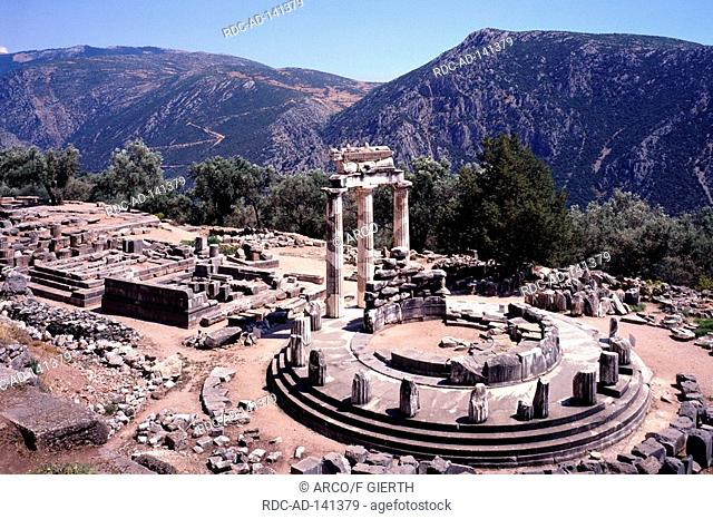 Round temple Sanctuary of Athena Pronaia Delphi Greece Tholos temple