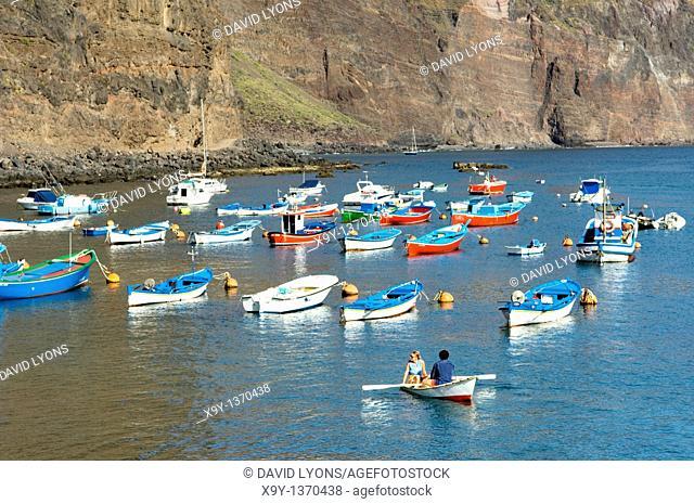 La Gomera, Canary Islands  Pleasure boats in the marina harbour of Puerto de Vueltas, Valle Gran Rey