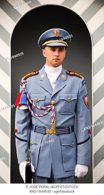 Guard, Prague Castle, Prague, Czech Republic, Europe