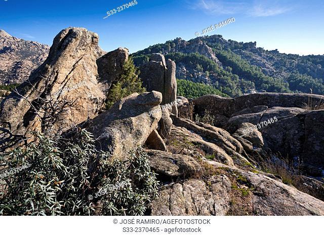 Camorza hill from Higuera cliffs in the Pedriza. Regional Park of the Cuenca Alta del Manzanares. Manzanares el Real. Madrid. Spain. Europe