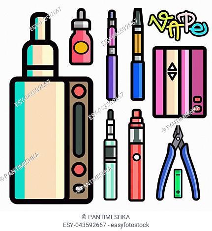 Vape device vector set cigarette vaporizer vapor juice vape bottle flavor illustration battery coil. Trend new culture electronic nicotine liquid