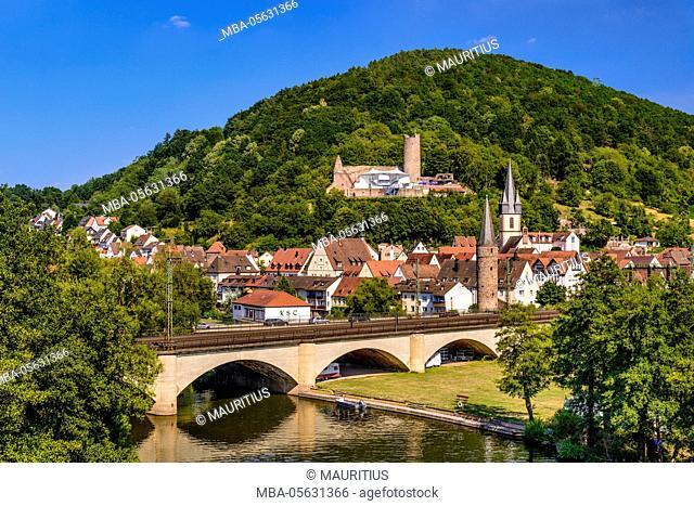 Germany, Bavaria, Lower Franconia, Mainfranken, Gemünden at the Main, Franconian Saale, townscape, castle ruin Scherenburg