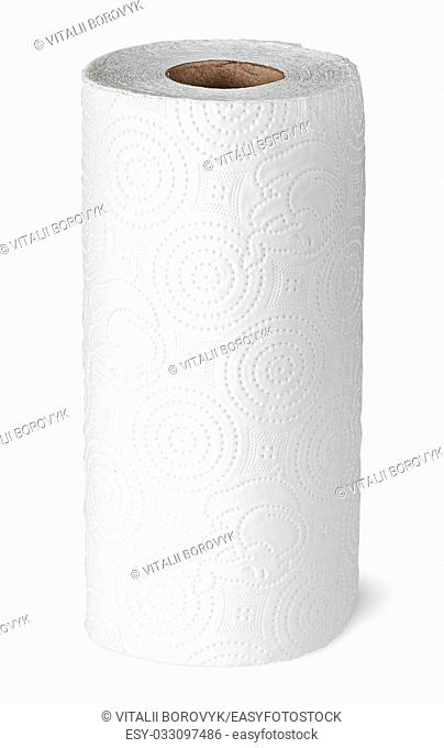 Roll paper towels on the bushing vertically isolated on white background