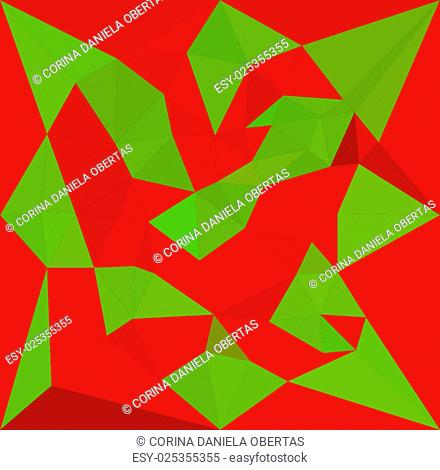 Geometric low poly background in complementary colors: red and green. Vector eps10