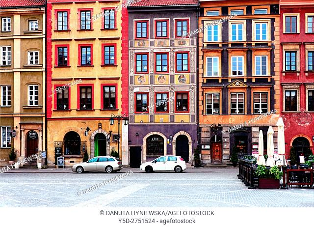 Facades of townhouses, Old Town Market Place, Zakrzewskiego side - Strona Zakrzewskiego, Old Town, UNESCO World Heritage Site, Poland, Warsaw, Poland, Europe