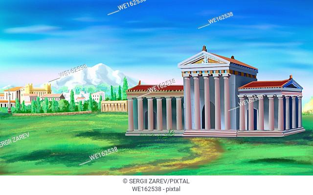 Ancient Greek Temple in a sunny day. Digital Painting Background, Illustration in cartoon style character