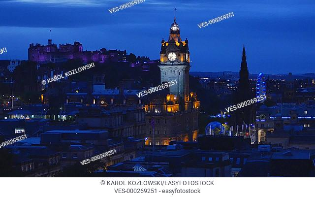 Night view of Edinburgh from Calton Hill, Scotland, United Kingdom