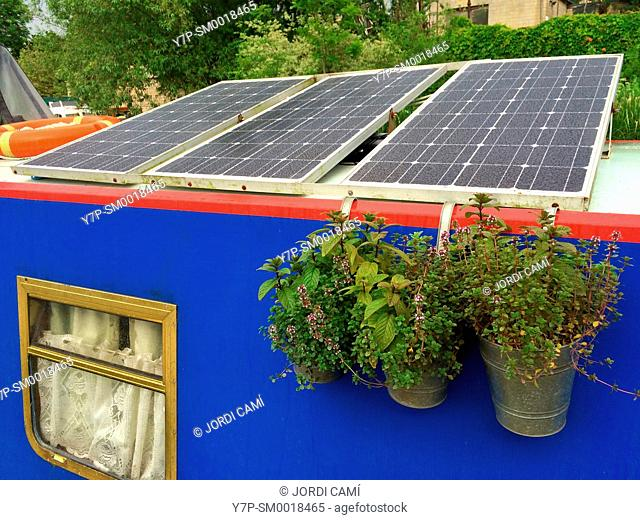 SolarPanels on boathouse roof. Bath . England
