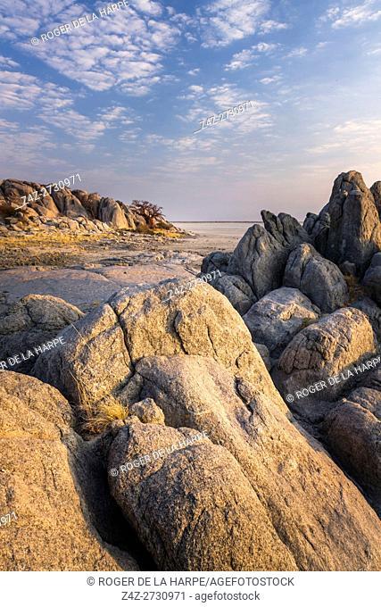 Lekhubu (Kubu) Island. Sowa Pan. Makgadikgadi Pans. Botswana